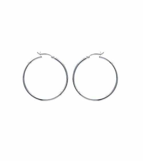 Boucles d'oreilles créoles en argent 925/1000 rhodié diamètre 40 mm