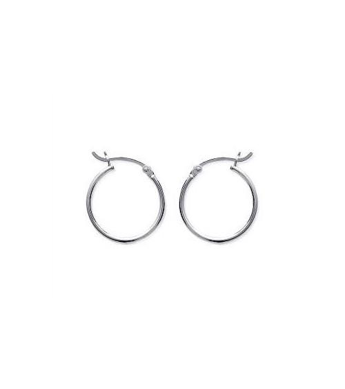 Boucles d'oreilles créoles en argent 925/1000 rhodié diamètre 20 mm