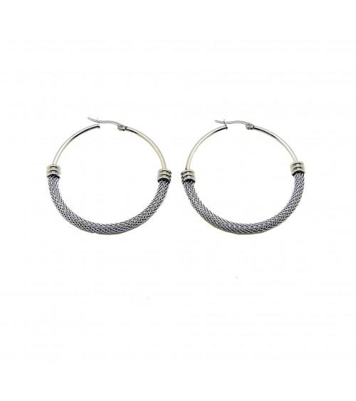 Boucles d'oreilles créoles en acier, en diamètre 50 mm