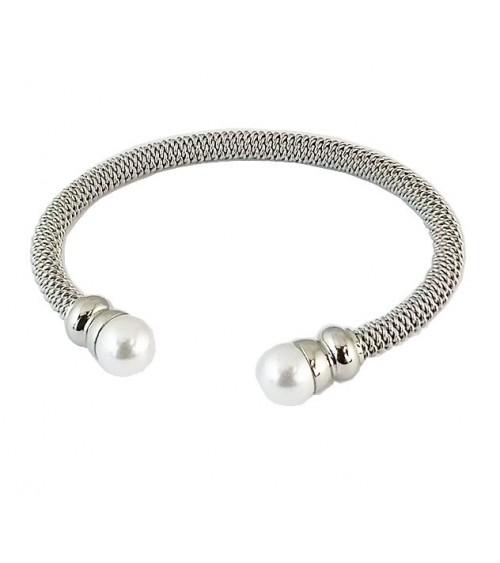 Bracelet ouvert en câble acier avec à chaque extrémité  une perle synthétique