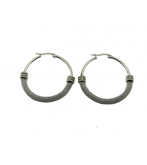 Boucles d'oreilles créoles en acier, en diamètre 40 mm