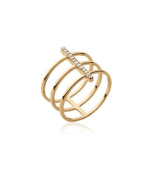 Bague en plaqué or à 3 anneaux surmontés d'une barre sertie d'oxydes de zirconium