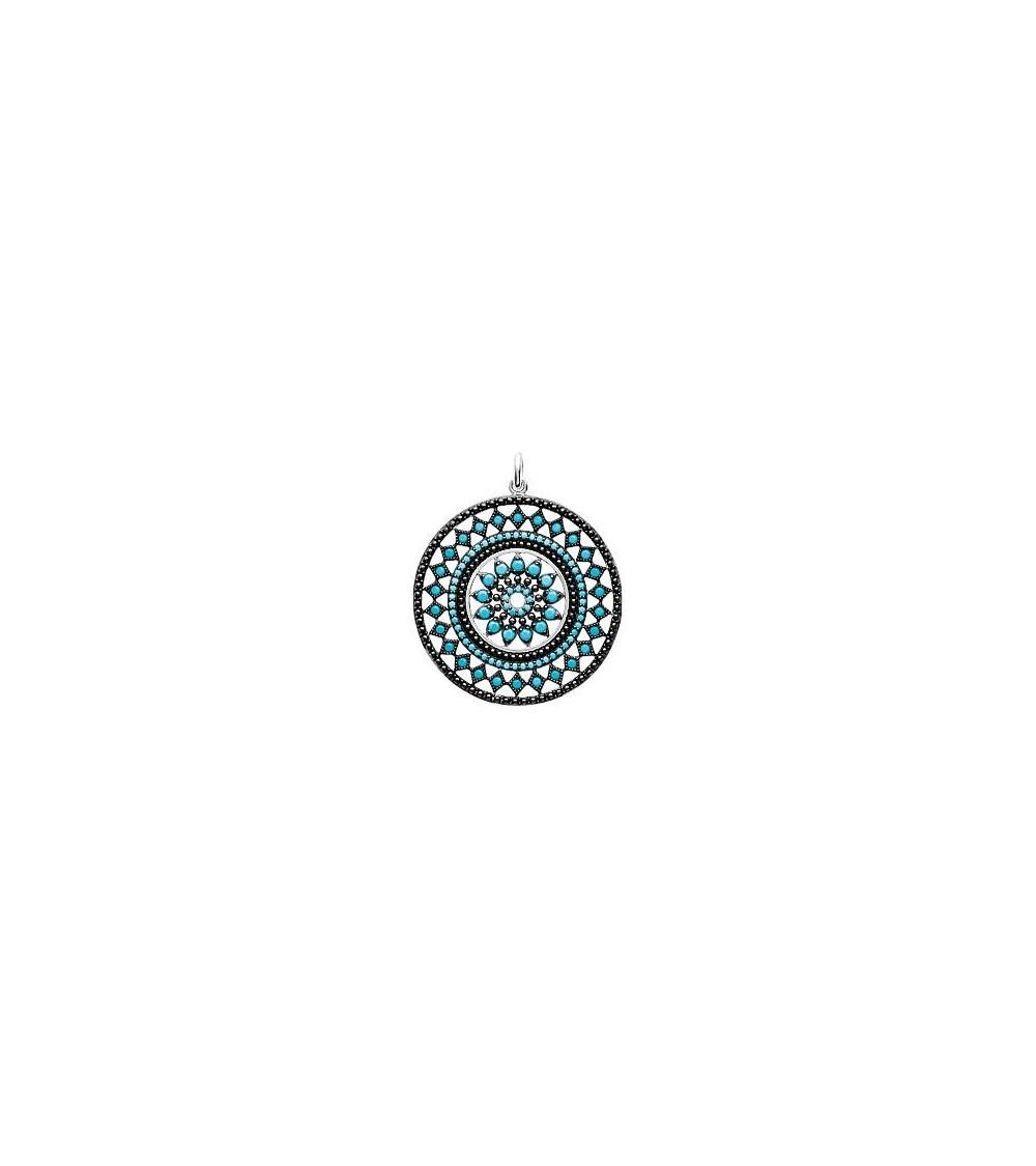 """Pendentif seul en argent 925/1000 rhodié de style """"amérindien"""", avec pierre de synthèse turquoise"""