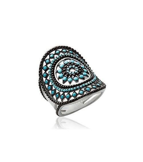 """Bague en argent 925/1000 rhodié de style """"amérindien"""", avec pierre de synthèse turquoise"""