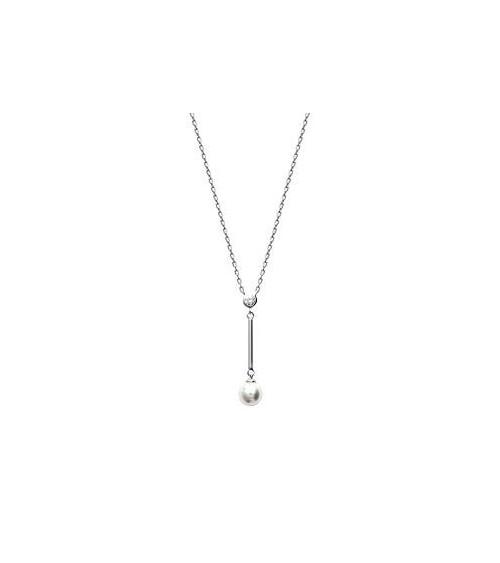 Collier en argent 925/1000 rhodié, oxyde de zirconium et perle synthétique (longueur 45 cm ajustable à 42 cm)