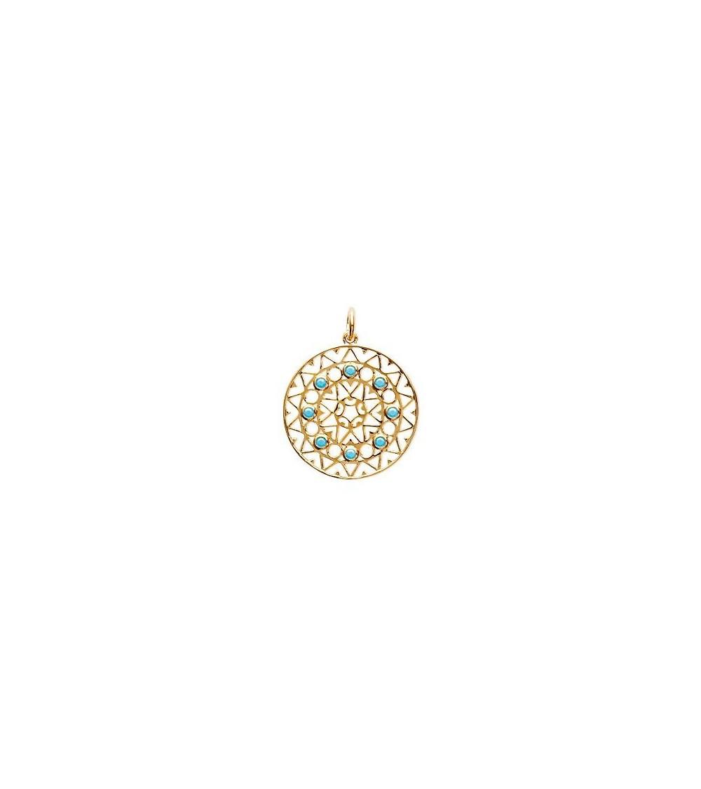 """Pendentif seul de style """"amérindien"""" en plaqué or et pierre de synthèse turquoise (voir chaine vendue séparément)"""