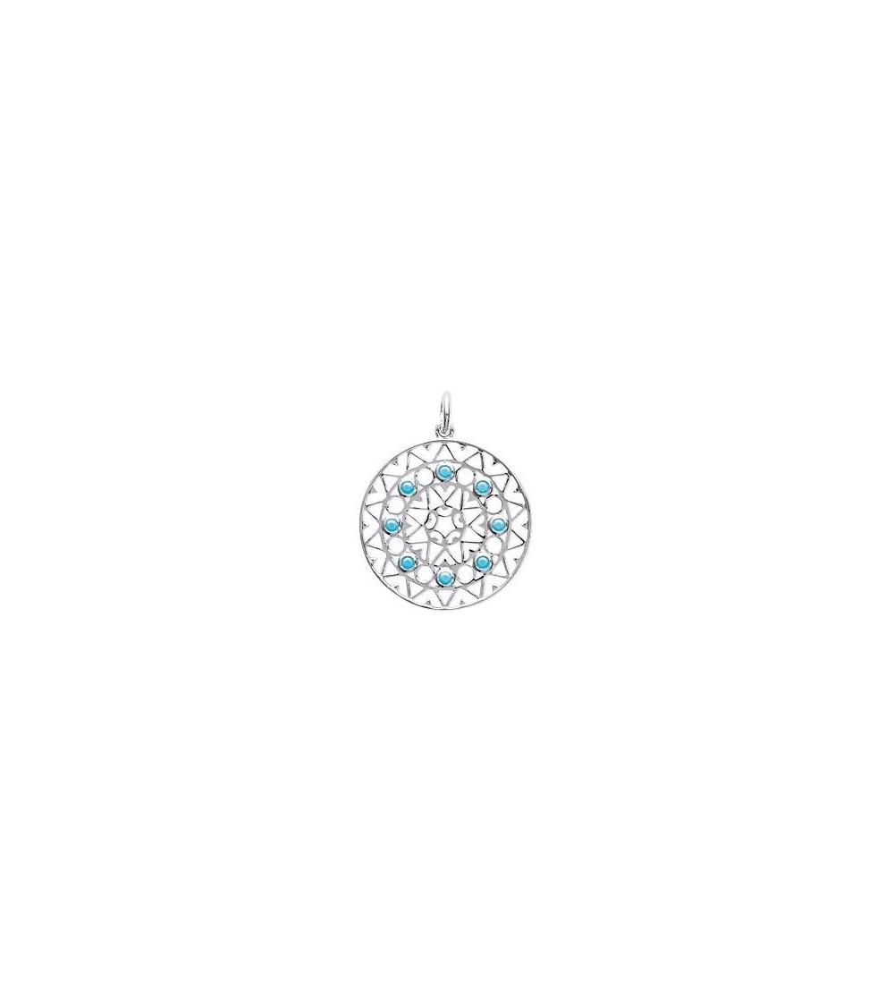 """Pendentif seul de style """"amérindien"""" en argent 925/1000 rhodié et pierre de synthèse turquoise (voir chaine vendue séparément)"""
