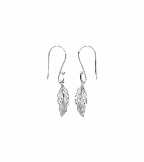 """Boucles d'oreilles """"plume"""" en argent 925/1000 rhodié, avec crochets"""