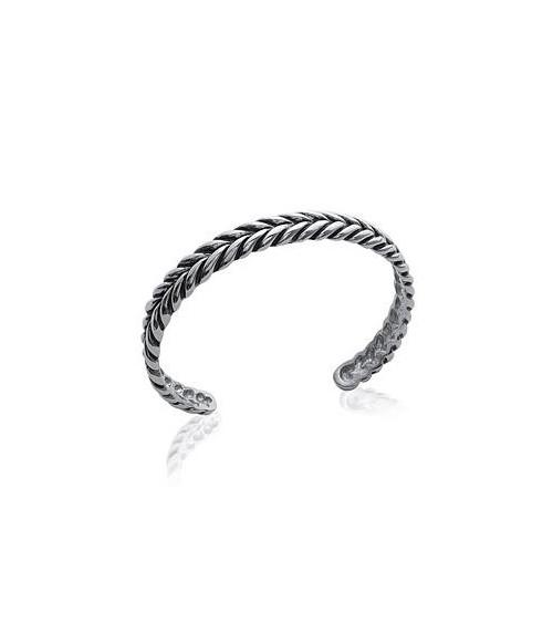 Bracelet ouvert en acier tressé