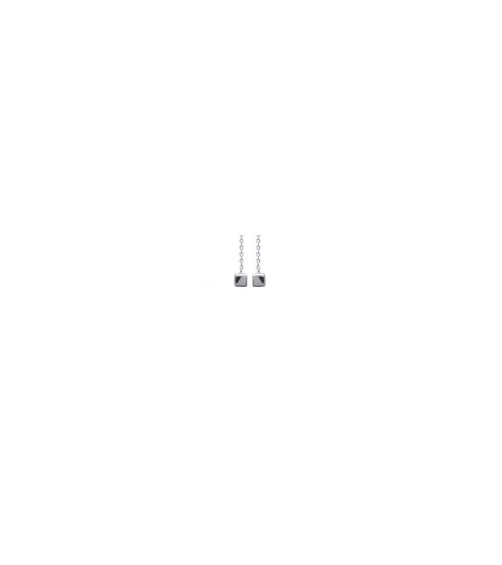 """Boucles d'oreilles """"traversantes"""" en argent 925/1000 rhodié avec à chaque extrémité un carré"""