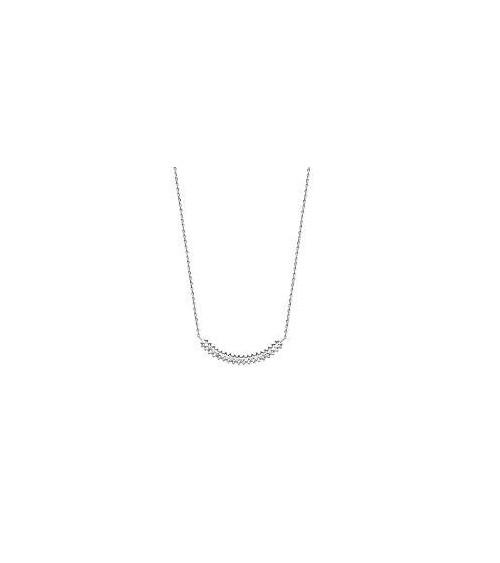 Collier en argent 925/1000 rhodié et oxydes de zirconium, en longueur 45 cm pouvant être ramené à 42 cm