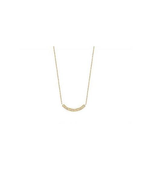 Collier en plaqué or et oxydes de zirconium, en longueur 45 cm pouvant être ramené à 42 cm