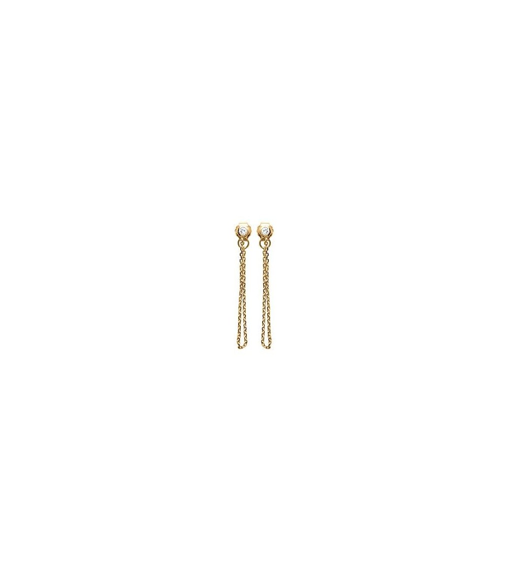 Boucles d'oreilles en plaqué or, double chainette et oxydes de zirconium, avec poussettes