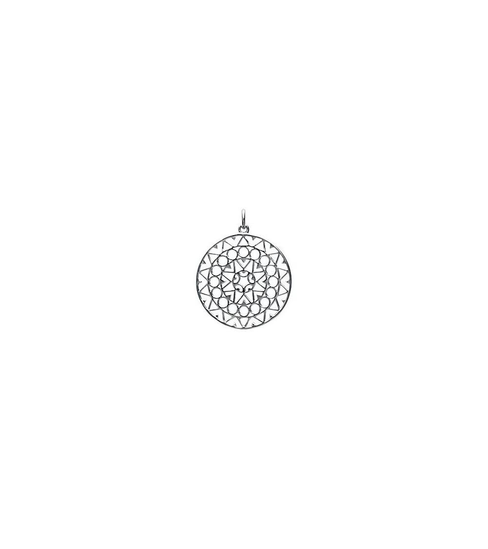 Pendentif rond ajouré en argent 925/1000 rhodié (voir chaine vendue séparément)