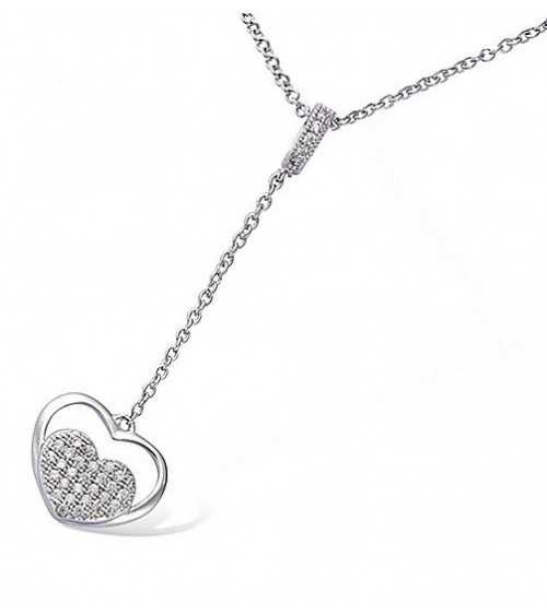 """Collier """"coeur"""" en argent 925/1000 et oxydes de zirconium en longueur 45 cm, pouvant êre ramenée à 42 cm et 40 cm"""