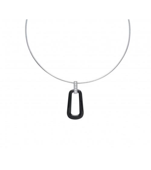 Collier en acier avec câble, céramique noire et pierre de synthèse (longueur 45 cm)