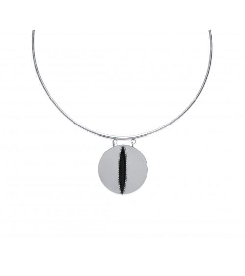 Collier en acier avec câble, rond agrémenté d'un ovale en ruthénium (longueur 45 cm)