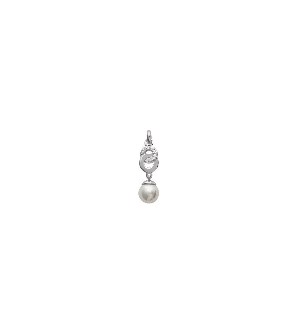 Pendentif seul en argent 925/1000 ème rhodié, oxydes de zirconium et perle synthétique