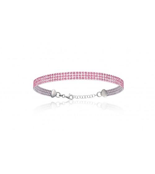 Bracelet en argent 925/1000 rhodié, avec support en silicone incrusté de cristal rose, en longueur 19 cm