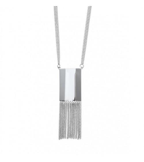 Sautoir en acier à double chaine,  avec rectangle et chainettes, en longueur 70 cm