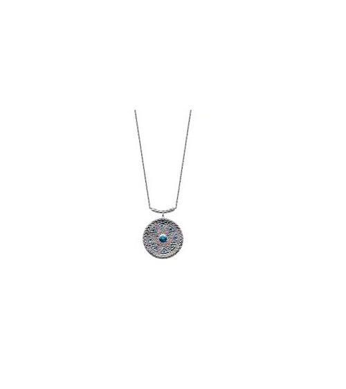 """Collier en argent 925/1000 rhodié et pierres de synthèse bleus, avec motif """"aztèque"""", en longueur 45 cm"""