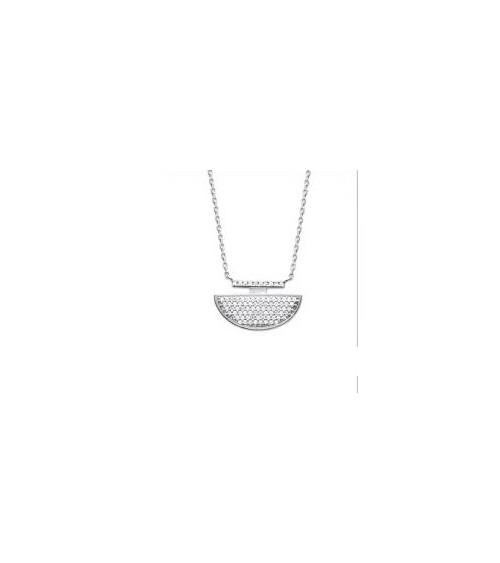 Collier en argent 925/1000 rhodié et oxydes de zirconium, en longueur 45 cm ajustable à 42 cm
