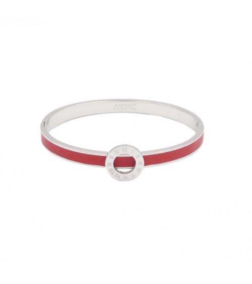 Bracelet rigide en acier avec cuir rouge surmonté d'un rond agrémenté de chiffres romains