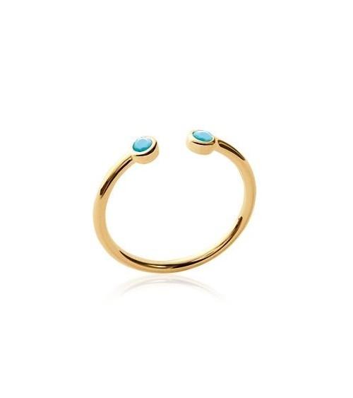 Bague ouverte en plaqué or avec pierre de synthèse bleue à chaque extrémité