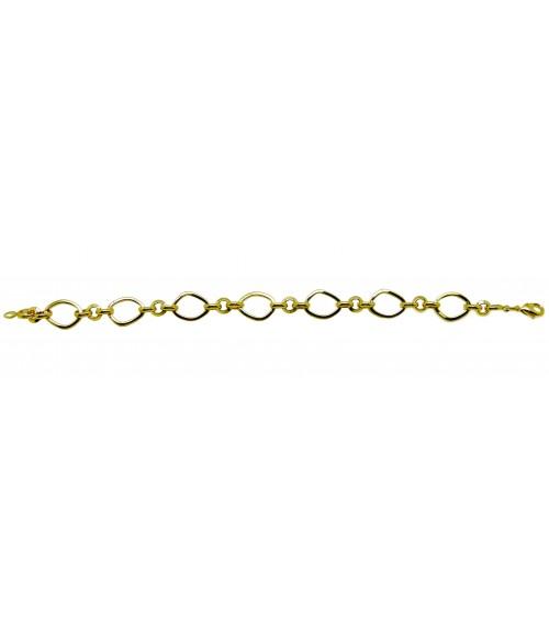 Bracelet à maillons ovales et petits ronds en plaqué or, en longueur 19 cm
