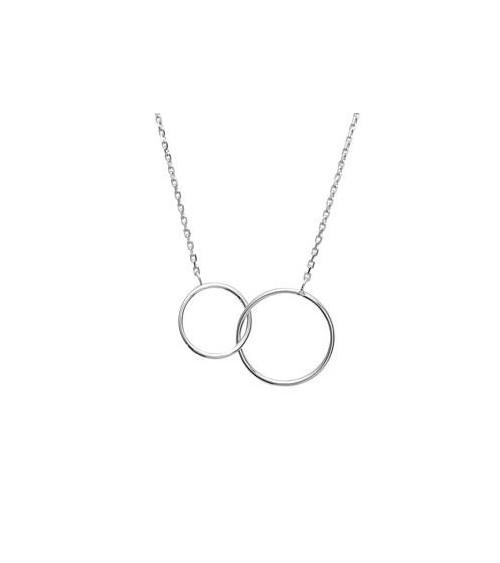 Collier double rond en argent 925/1000 rhodié, en longueur 45 cm ajustable à 42 cm