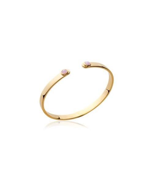 Bracelet rigide ouvert en plaqué or, avec à chaque extrémité une pierre de synthèse rose