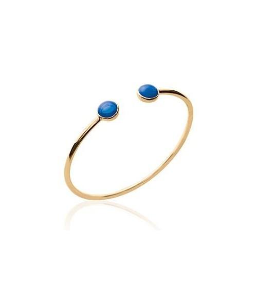 Bracelet rigide ouvert en plaqué or avec à chaque extrémité une pierre de synthèse bleue foncé