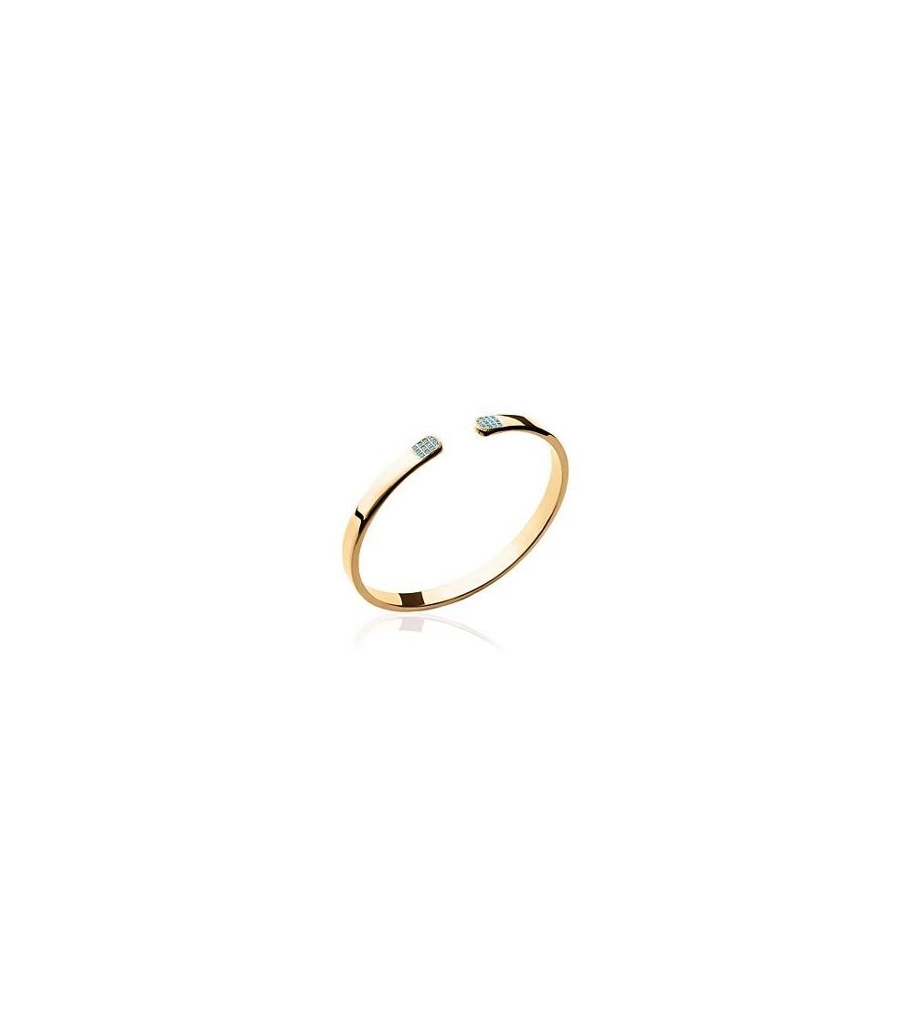 """Bracelet rigide ouvert en plaqué or avec à chaque extrémité un """"damier"""" serti de pierre de synthèse bleue turquoise"""