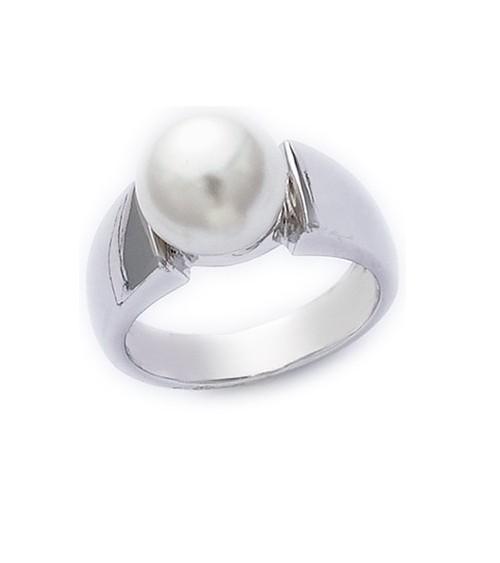 Bague en argent 925/1000 rhodié surmontée d'une perle blanche synthétique