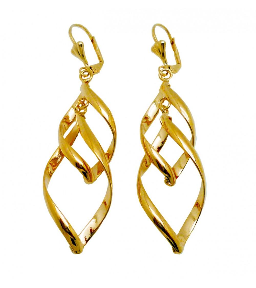 Boucles d'oreilles pendantes torsadées, en plaqué or, avec fermeture dormeuse