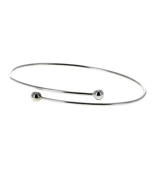 Bracelet rigide en argent 925/1000 rhodié, entrecroisé avec à chaque extrémité une boule
