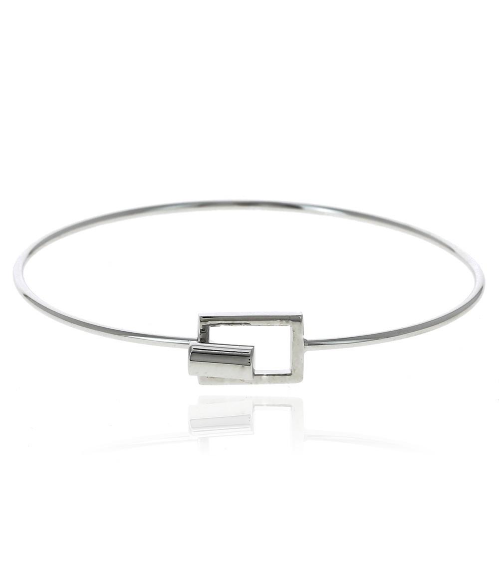 Bracelet rigide en argent 925/1000 rhodié fermé par un rectangle