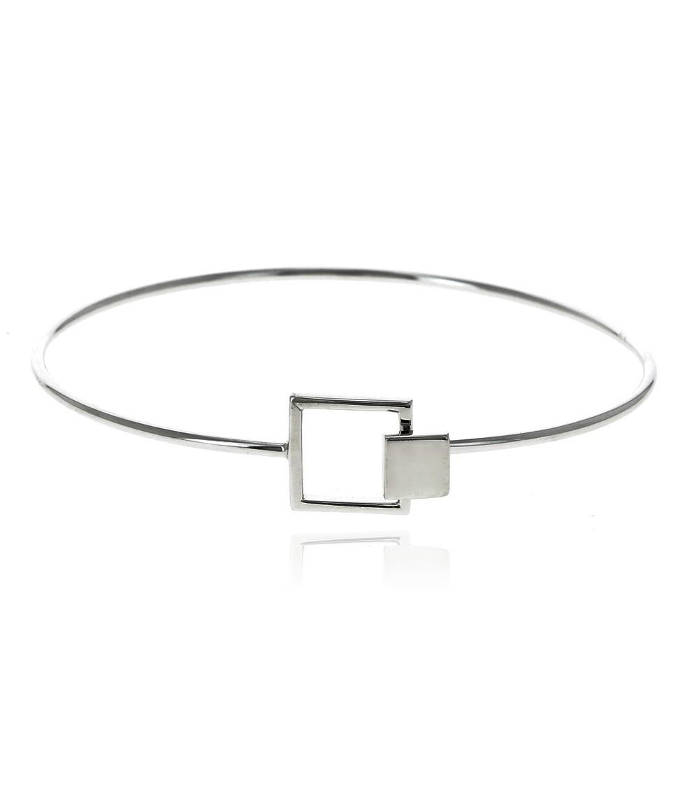 Bracelet rigide en argent 925/1000 rhodié avec fermeture carrée