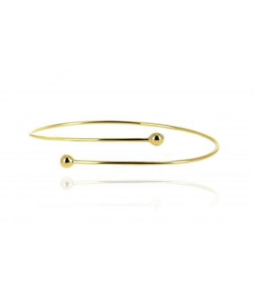 Bracelet rigide en plaqué or, entrecroisé avec boules à chaque extrémité