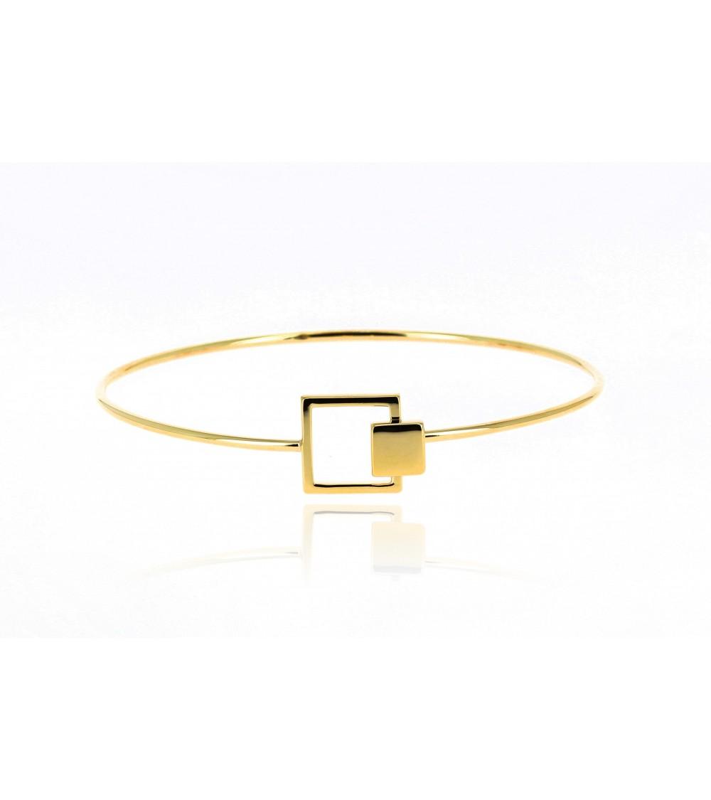 Bracelet rigide en plaqué or avec fermeture carrée