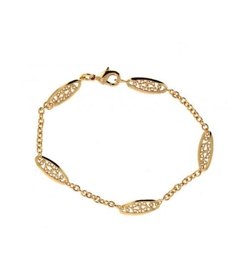 Bracelet en plaqué or, avec maillons filigranés, en longueur 19 cm