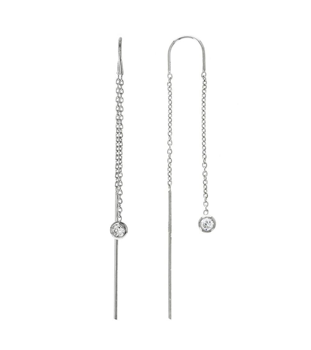 """Boucles d'oreilles """"traversantes"""" en argent 925/1000 rhodié et oxydes de zirconium"""