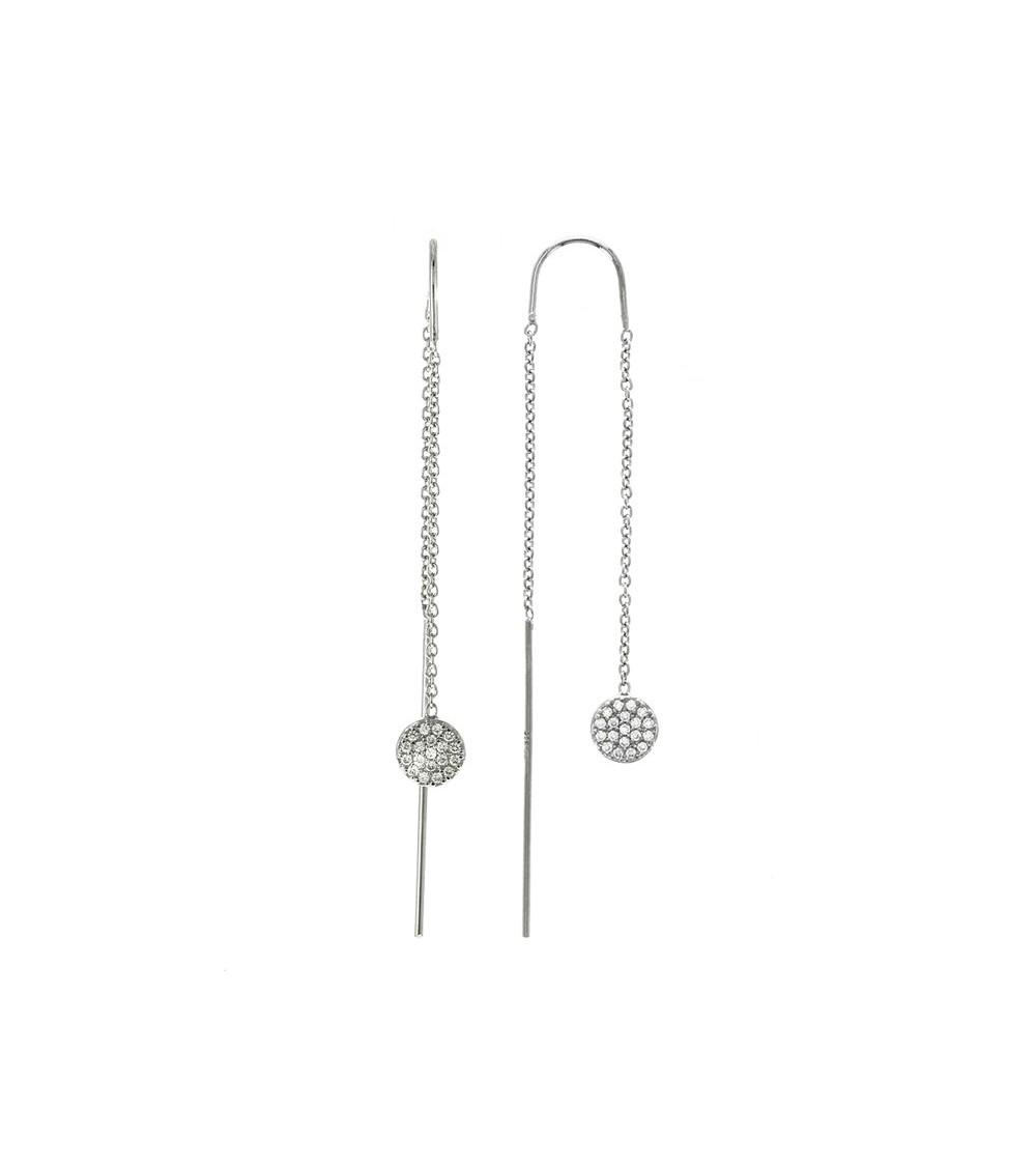 """Boucles d'oreilles """"traversantes"""" en argent 925/1000 rhodié avec motif """"pastilles"""" serties d'oxydes de zirconium"""