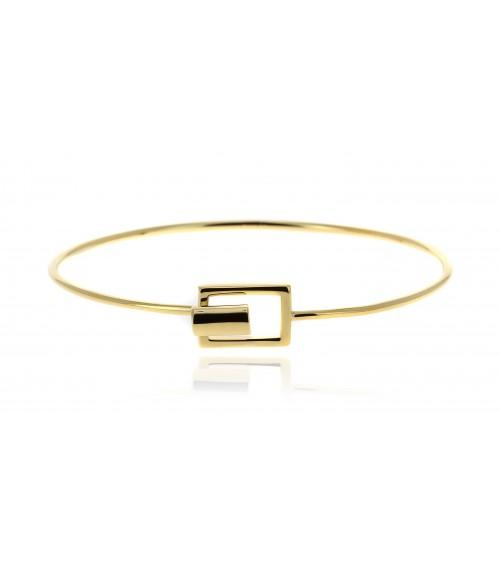 Bracelet rigide en plaqué or avec fermeture rectangulaire
