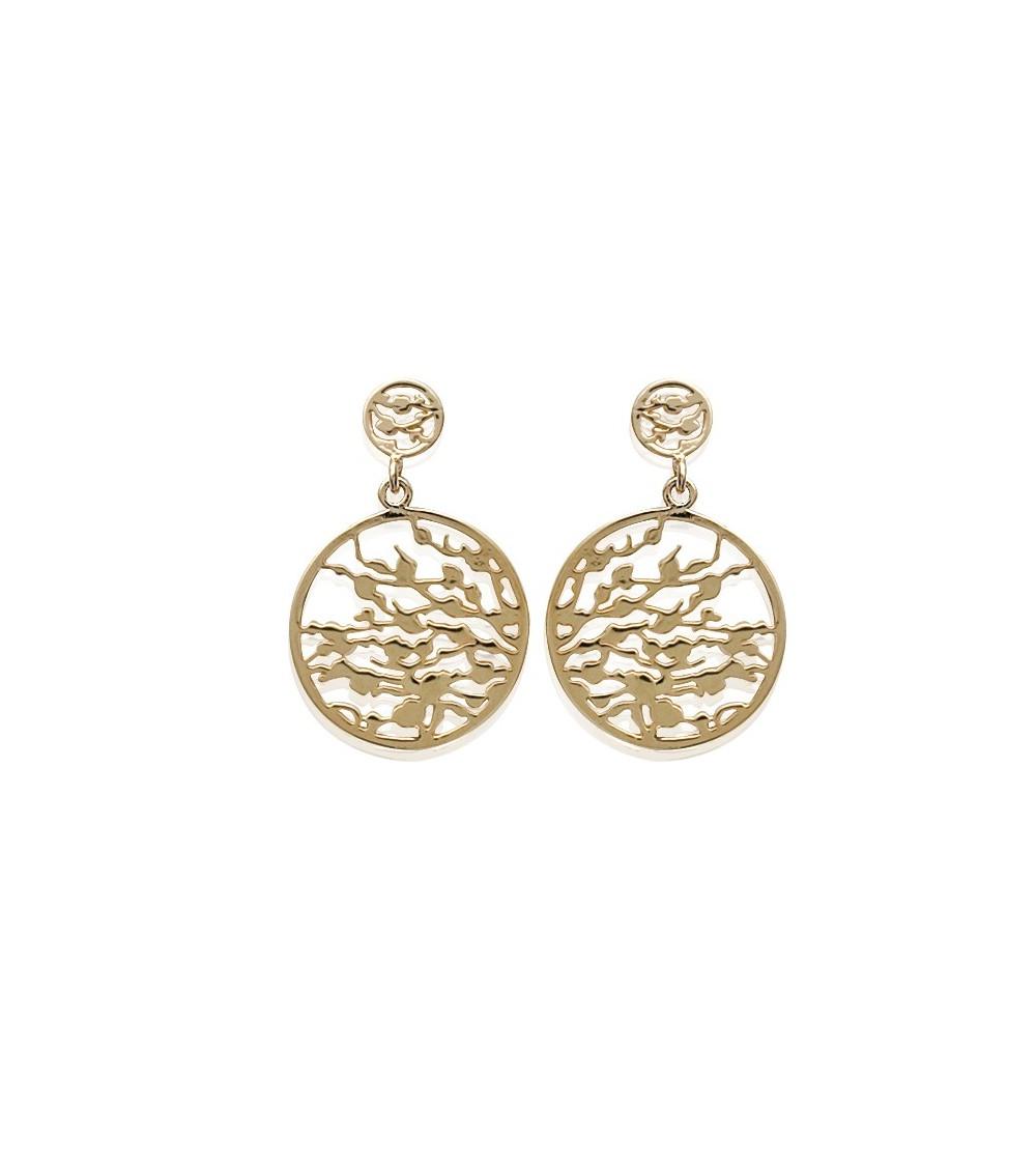 Boucles d'oreilles pendantes ajourées en plaqué or
