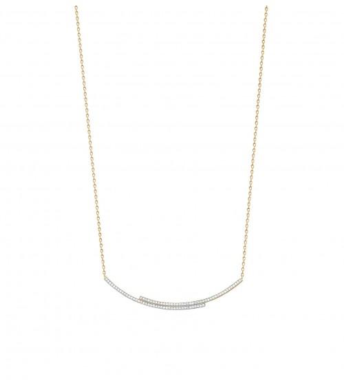 Collier barre incurvée en quinconce, en plaqué or (longueur 45 cm ajustable à 42 cm)