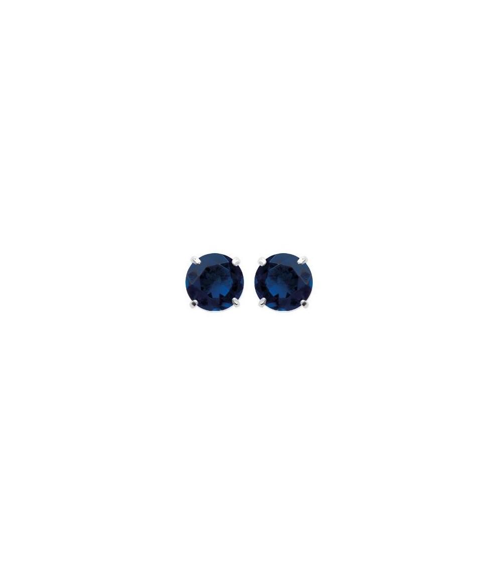 Boucles d'oreilles en argent 925/1000 rhodié et oxydes de zirconium bleu saphiir 4 griffes, avec poussettes