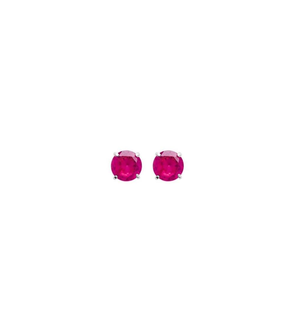 Boucles d'oreilles en argent 925/1000 rhodié et oxydes de zirconium rouge 4 griffes, avec poussettes