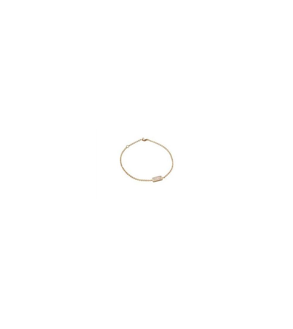Bracelet en plaqué or avec petit rectangle serti d'oxydes de zirconium, en longueur 18 cm