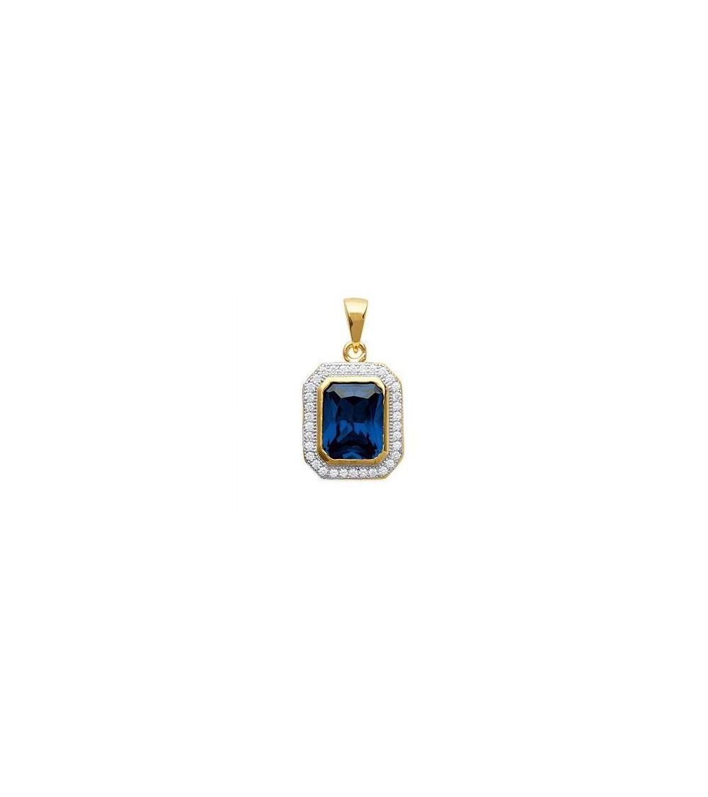 Pendentif rectangle seul, en plaqué or avec un oxyde de zirconium bleu entourés d'oxydes de zirconium blancs